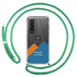 Personaliza tu Funda Colgante Transparente para Oppo Find X2 Pro con Cordon Verde Agua Dibujo Personalizada