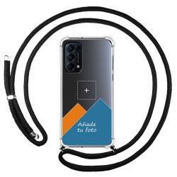 Personaliza tu Funda Colgante Transparente para Oppo Find X3 Lite 5G con Cordon Negro Dibujo Personalizada