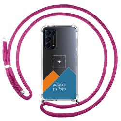 Personaliza tu Funda Colgante Transparente para Oppo Find X3 Lite 5G con Cordon Rosa Fucsia Dibujo Personalizada