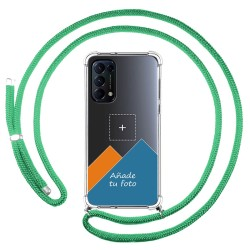 Personaliza tu Funda Colgante Transparente para Oppo Find X3 Lite 5G con Cordon Verde Agua Dibujo Personalizada