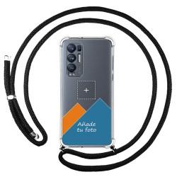 Personaliza tu Funda Colgante Transparente para Oppo Find X3 Neo 5G con Cordon Negro Dibujo Personalizada