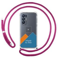 Personaliza tu Funda Colgante Transparente para Oppo Find X3 Neo 5G con Cordon Rosa Fucsia Dibujo Personalizada