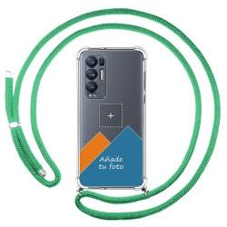 Personaliza tu Funda Colgante Transparente para Oppo Find X3 Neo 5G con Cordon Verde Agua Dibujo Personalizada