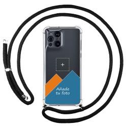 Personaliza tu Funda Colgante Transparente para Oppo Find X3 Pro 5G con Cordon Negro Dibujo Personalizada