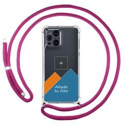 Personaliza tu Funda Colgante Transparente para Oppo Find X3 Pro 5G con Cordon Rosa Fucsia Dibujo Personalizada