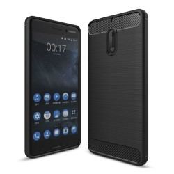 Funda Gel Tpu Tipo Carbon Negra para Nokia 6