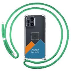 Personaliza tu Funda Colgante Transparente para Oppo Find X3 Pro 5G con Cordon Verde Agua Dibujo Personalizada