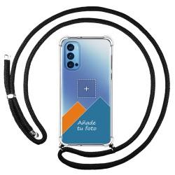 Personaliza tu Funda Colgante Transparente para Oppo Reno 4 5G con Cordon Negro Dibujo Personalizada