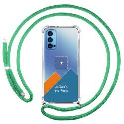Personaliza tu Funda Colgante Transparente para Oppo Reno 4 5G con Cordon Verde Agua Dibujo Personalizada