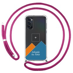 Personaliza tu Funda Colgante Transparente para Oppo Reno 4 Pro 5G con Cordon Rosa Fucsia Dibujo Personalizada