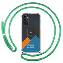 Personaliza tu Funda Colgante Transparente para Oppo Reno 4 Pro 5G con Cordon Verde Agua Dibujo Personalizada