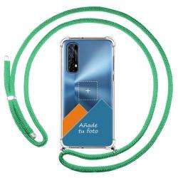 Personaliza tu Funda Colgante Transparente para Realme 7 con Cordon Verde Agua Dibujo Personalizada