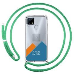 Personaliza tu Funda Colgante Transparente para Realme 7i / Narzo 30A con Cordon Verde Agua Dibujo Personalizada