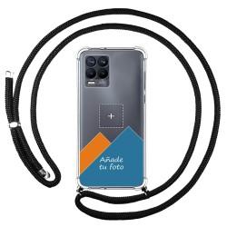 Personaliza tu Funda Colgante Transparente para Realme 8 4G / 8 Pro con Cordon Negro Dibujo Personalizada