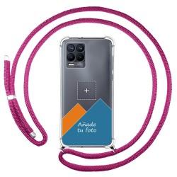 Personaliza tu Funda Colgante Transparente para Realme 8 4G / 8 Pro con Cordon Rosa Fucsia Dibujo Personalizada