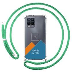 Personaliza tu Funda Colgante Transparente para Realme 8 4G / 8 Pro con Cordon Verde Agua Dibujo Personalizada