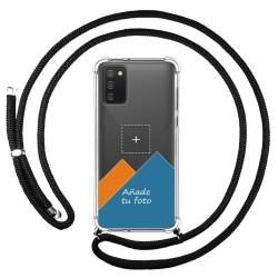 Personaliza tu Funda Colgante Transparente para Samsung Galaxy A02s con Cordon Negro Dibujo Personalizada