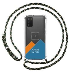 Personaliza tu Funda Colgante Transparente para Samsung Galaxy A02s con Cordon Verde / Dorado Dibujo Personalizada
