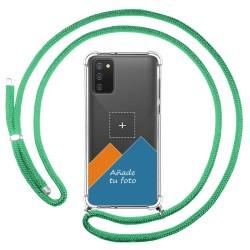 Personaliza tu Funda Colgante Transparente para Samsung Galaxy A02s con Cordon Verde Agua Dibujo Personalizada