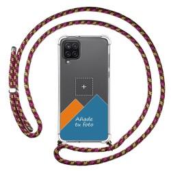 Personaliza tu Funda Colgante Transparente para Samsung Galaxy A12 / M12 con Cordon Rosa / Dorado Dibujo Personalizada
