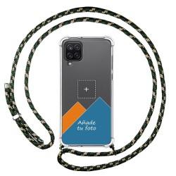 Personaliza tu Funda Colgante Transparente para Samsung Galaxy A12 / M12 con Cordon Verde / Dorado Dibujo Personalizada