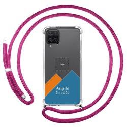 Personaliza tu Funda Colgante Transparente para Samsung Galaxy A12 / M12 con Cordon Rosa Fucsia Dibujo Personalizada