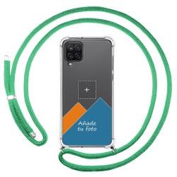 Personaliza tu Funda Colgante Transparente para Samsung Galaxy A12 / M12 con Cordon Verde Agua Dibujo Personalizada
