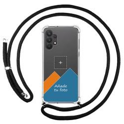 Personaliza tu Funda Colgante Transparente para Samsung Galaxy A32 4G con Cordon Negro Dibujo Personalizada