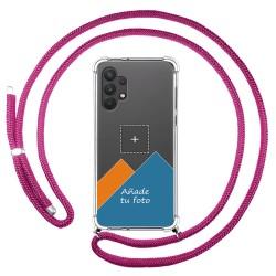 Personaliza tu Funda Colgante Transparente para Samsung Galaxy A32 4G con Cordon Rosa Fucsia Dibujo Personalizada