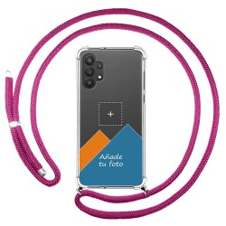 Personaliza tu Funda Colgante Transparente para Samsung Galaxy A32 5G con Cordon Rosa Fucsia Dibujo Personalizada