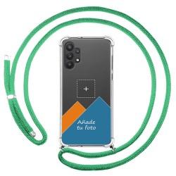 Personaliza tu Funda Colgante Transparente para Samsung Galaxy A32 5G con Cordon Verde Agua Dibujo Personalizada