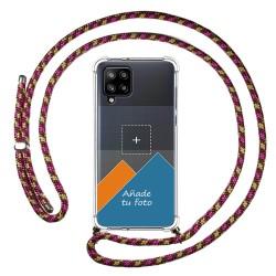 Personaliza tu Funda Colgante Transparente para Samsung Galaxy A42 5G con Cordon Rosa / Dorado Dibujo Personalizada