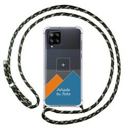 Personaliza tu Funda Colgante Transparente para Samsung Galaxy A42 5G con Cordon Verde / Dorado Dibujo Personalizada
