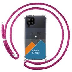 Personaliza tu Funda Colgante Transparente para Samsung Galaxy A42 5G con Cordon Rosa Fucsia Dibujo Personalizada
