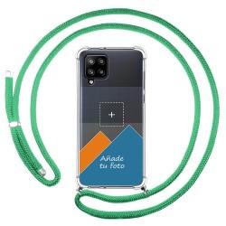 Personaliza tu Funda Colgante Transparente para Samsung Galaxy A42 5G con Cordon Verde Agua Dibujo Personalizada