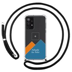 Personaliza tu Funda Colgante Transparente para Samsung Galaxy A52 / A52 5G con Cordon Negro Dibujo Personalizada
