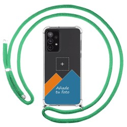 Personaliza tu Funda Colgante Transparente para Samsung Galaxy A52 / A52 5G con Cordon Verde Agua Dibujo Personalizada