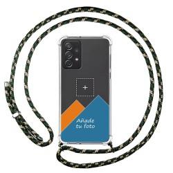 Personaliza tu Funda Colgante Transparente para Samsung Galaxy A72 con Cordon Verde / Dorado Dibujo Personalizada