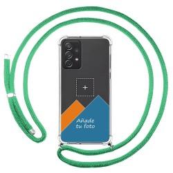Personaliza tu Funda Colgante Transparente para Samsung Galaxy A72 con Cordon Verde Agua Dibujo Personalizada
