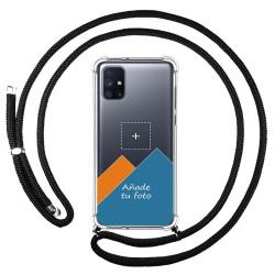 Personaliza tu Funda Colgante Transparente para Samsung Galaxy M51 con Cordon Negro Dibujo Personalizada