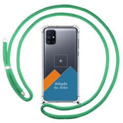 Personaliza tu Funda Colgante Transparente para Samsung Galaxy M51 con Cordon Verde Agua Dibujo Personalizada