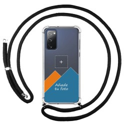 Personaliza tu Funda Colgante Transparente para Samsung Galaxy S20 FE con Cordon Negro Dibujo Personalizada