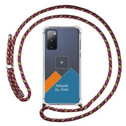 Personaliza tu Funda Colgante Transparente para Samsung Galaxy S20 FE con Cordon Rosa / Dorado Dibujo Personalizada