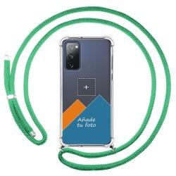 Personaliza tu Funda Colgante Transparente para Samsung Galaxy S20 FE con Cordon Verde Agua Dibujo Personalizada