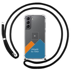 Personaliza tu Funda Colgante Transparente para Samsung Galaxy S21 5G con Cordon Negro Dibujo Personalizada
