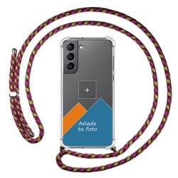 Personaliza tu Funda Colgante Transparente para Samsung Galaxy S21 5G con Cordon Rosa / Dorado Dibujo Personalizada