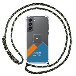 Personaliza tu Funda Colgante Transparente para Samsung Galaxy S21 5G con Cordon Verde / Dorado Dibujo Personalizada
