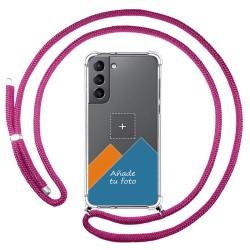 Personaliza tu Funda Colgante Transparente para Samsung Galaxy S21 5G con Cordon Rosa Fucsia Dibujo Personalizada