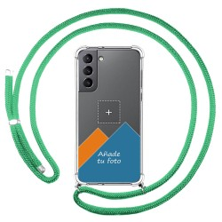 Personaliza tu Funda Colgante Transparente para Samsung Galaxy S21 5G con Cordon Verde Agua Dibujo Personalizada