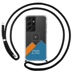 Personaliza tu Funda Colgante Transparente para Samsung Galaxy S21 Ultra 5G con Cordon Negro Dibujo Personalizada